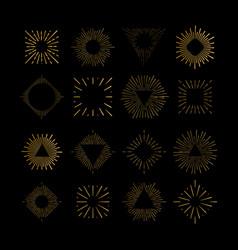 Tribal boho gold sun burst frame fireworks vector