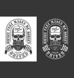 trucker emblem with skull vector image