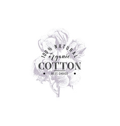 type design over hand drawn cotton branch vector image