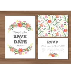 Wedding set with watercolor flowers and vector