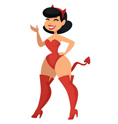 woman in sexy devil costume halloween party vector image