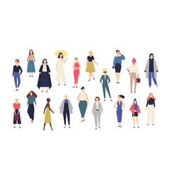 women s world crowd of girls dressed in trendy vector image