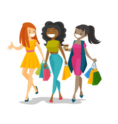 young happy multicultural women shopping together vector image