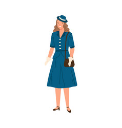young woman wearing dress hat and gloves in 40s vector image