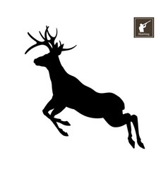 black silhouette of deer on white background vector image vector image