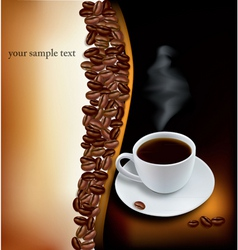desing with cup of coffee and beans vector image