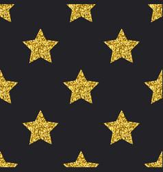 gold glitter stars seamless pattern black vector image