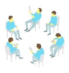 Group of business Five people team meeting vector image vector image
