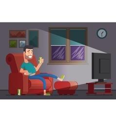 Man watching TV and drinking beer cartoon vector image
