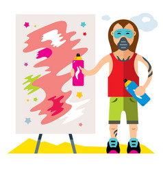 urban graffiti artist flat style colorful vector image