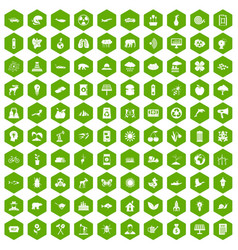 100 eco care icons hexagon green vector