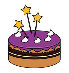 delicious cake with stars celebration icon vector image vector image