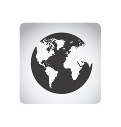 gray emblem earth planet icon vector image