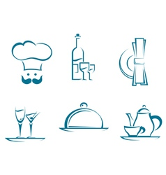 Restaurant icons and symbols vector image vector image