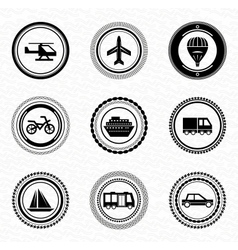 Black retro labels and badges transportation vector image vector image