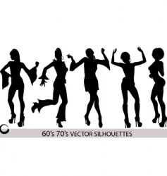 dancing girl silhouettes vector image vector image