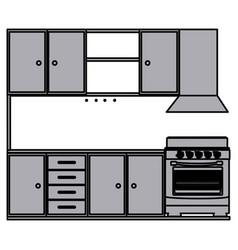 grayscale silhouette of kitchen cabinets with vector image vector image
