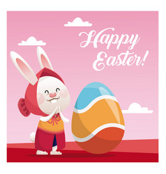 Happy easter cute girl bunny egg pink background vector