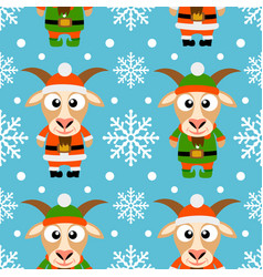 new year seamless card with funny goat santa claus vector image