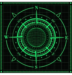 Radar compass rose with globe vector image vector image