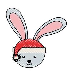 Scribble christmas rabbit face cartoon vector