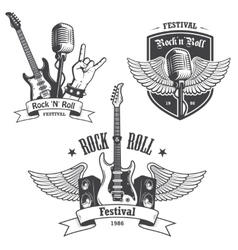 Set of rock and roll music emblems vector image