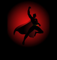 Superhero flying on dramatic red background vector