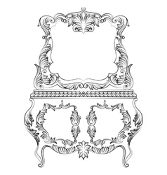 Fabulous Baroque Console Table and Mirror frame vector image