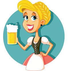 oktoberfest bavarian girl holding beer mug vector image