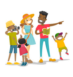 positive multiracial family traveling together vector image