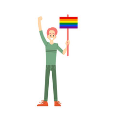 A young smiling white ginger man and gay in pants vector