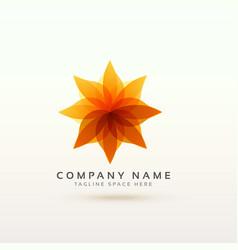 abstract orange flower logo concept design vector image