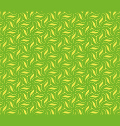 abstract yellow flowers and leaves on a green vector image