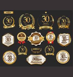 anniversary golden laurel wreath and badges 30 vector image