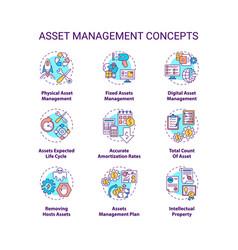 Asset management concept icons set vector