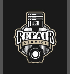 Auto repair service car logo emblem on a dark vector