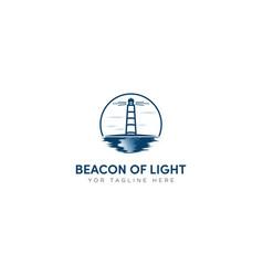 Beacon light logo coastal light house logo vector