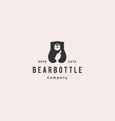 bear bottle logo hipster vintage retro icon vector image