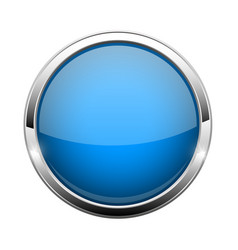 Blue glass button shiny round 3d web icon vector