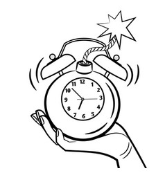 bomb alarm clock coloring page vector image