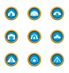 Booth icons set flat style vector