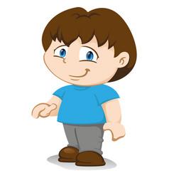 Boy mascot standing in standing position wait vector