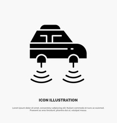Car electric network smart wifi solid glyph icon vector