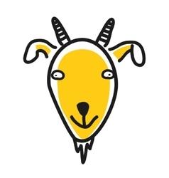 Cartoon animal head icon Goat face avatar vector