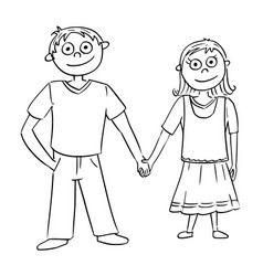 Cartoon boy and girl holding each others hands vector