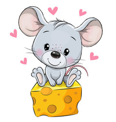 cartoon mouse is sitting on a cheese on a white vector image