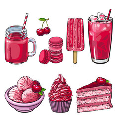 cherry desserts set in sketch style isolated on vector image