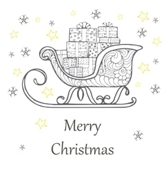Christmas gift boxes decorated in a sleigh doodle vector image