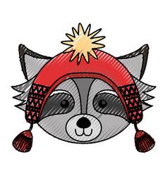 Christmas raccoon face cartoon vector