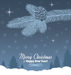 Christmas Tree Branch with Pine Cone in Grey vector